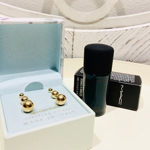 18k Gold Plated Sterling Silver Studs +gift